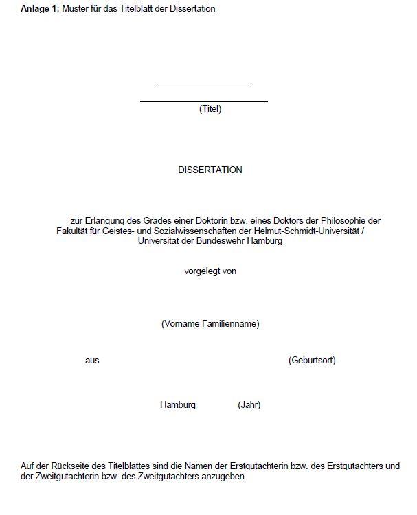 Anlage 1: Musterblatt für das Titelblatt der Dissertation