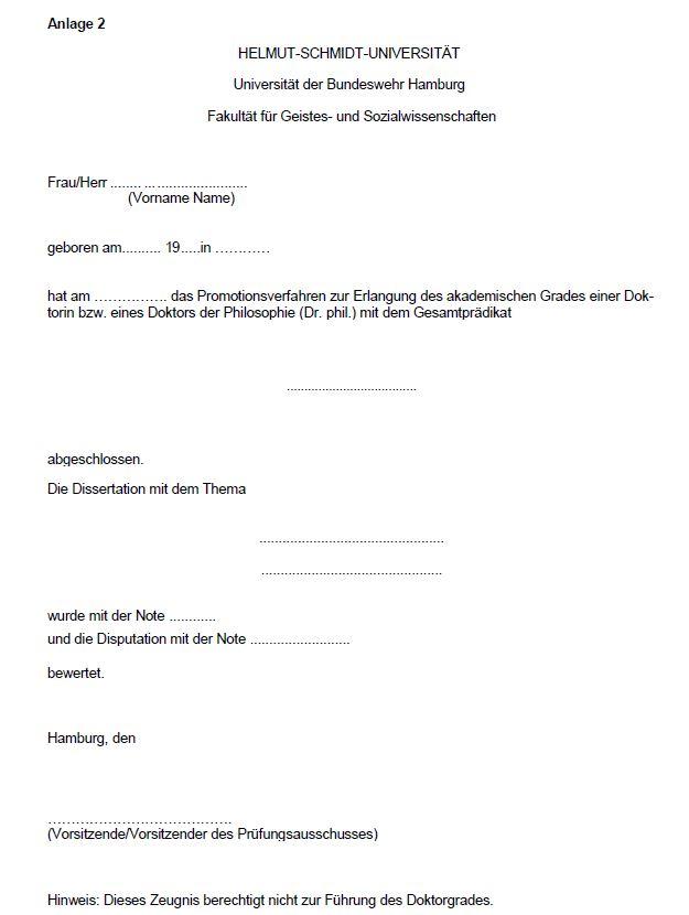 Anlage 2: Zeugnis über den Abschluss des Promotionsverfahrens