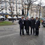 Das GIDS vor der MSC 2020: Leutnant z.S. Felix Knoch, Professor Dr. Stefan Bayer, Oberst i.G. Professor Dr. Matthias Rogg, Flottillenarzt Dr. Christian Haggenmiller (v.l.n.r.)