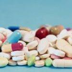 Medicine panorama header background with tablets