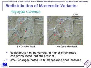 Redistribution of Martensite Variants