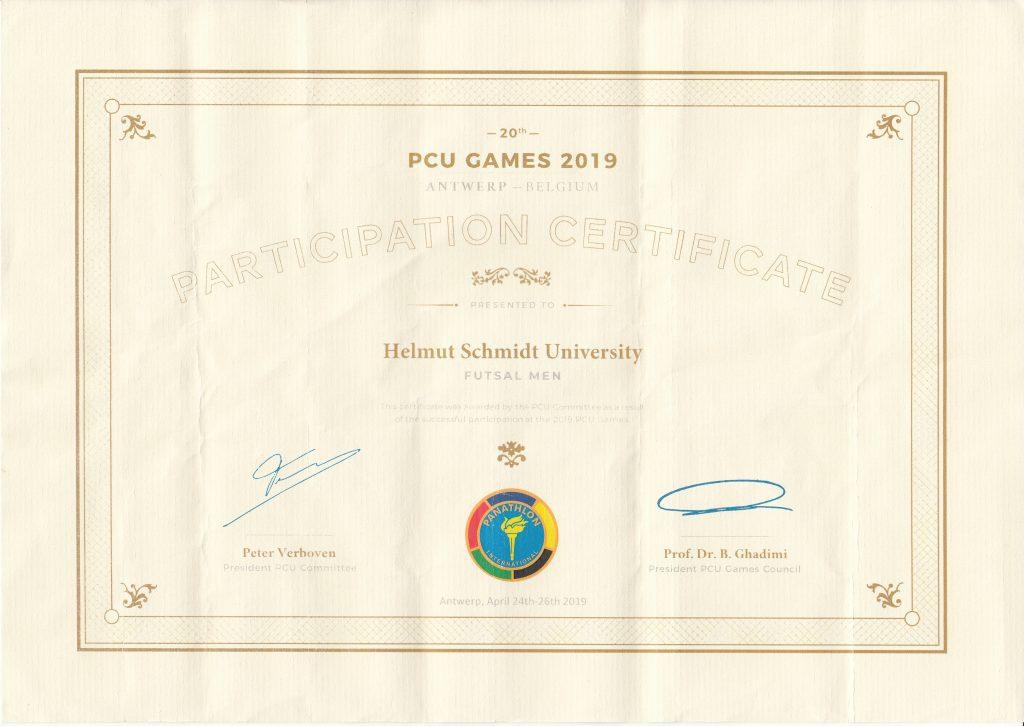 Urkunde PCU Games 2019