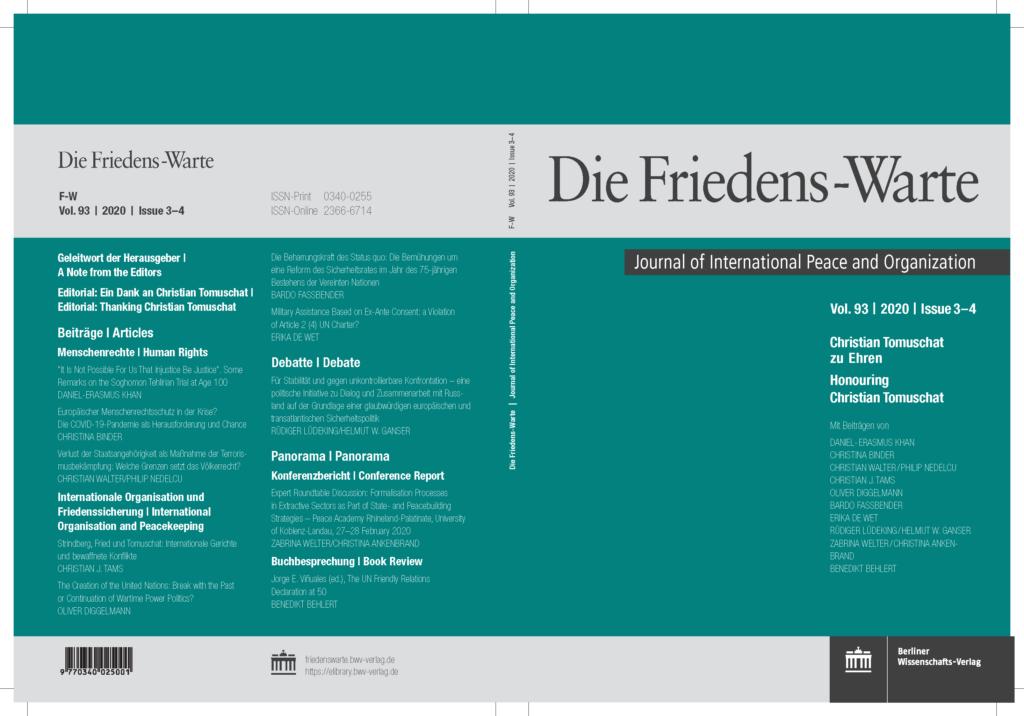 Deckblatt Friedenswarte 3-4-2020