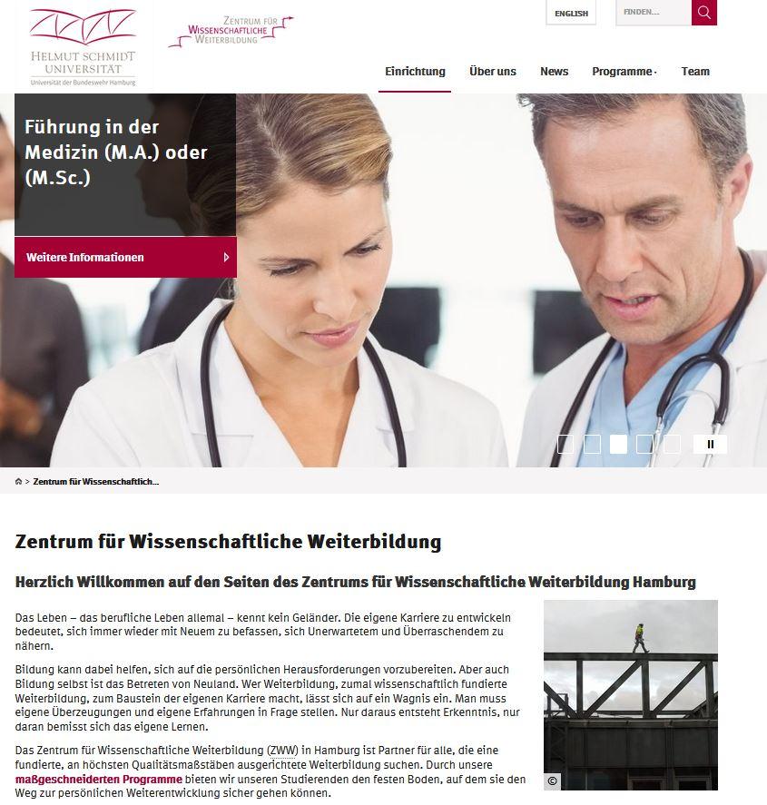 Relaunch Website Zentrum für Wissenschaftliche Weiterbildung (ZWW) Hamburg