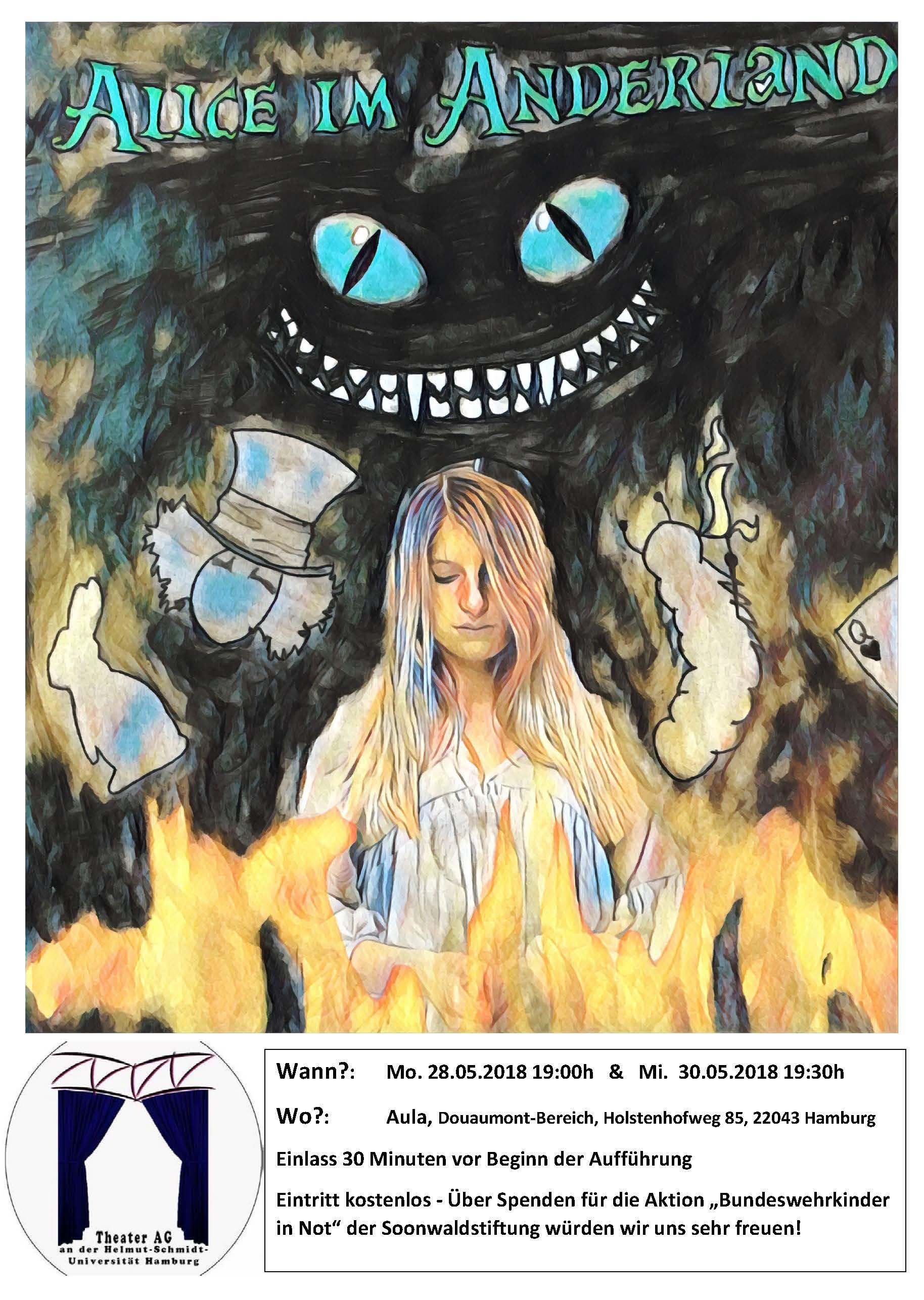 """Plakat zur Aufführung """"Alice im Anderland"""" der Theater-AG"""