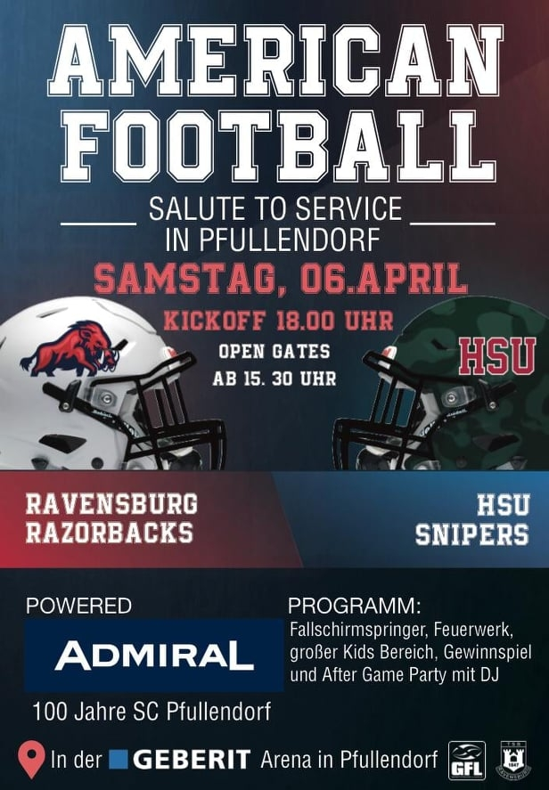 Plakat American Football Ravensburg Razorbacks gegen HSU Snipers am 6. April 2019