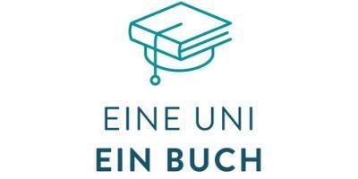 """Eine Kombination von Buch und Doktorhut, unterschrieben mit den Worten """"Eine Uni - Ein Buch"""""""