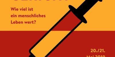 """Plakat zur Theatervorstellung """"Das jüngste Gericht"""" am 20. und 21.05.2019 um 19:30 Uhr in der Aula der Helmut-Schmidt-Universität"""