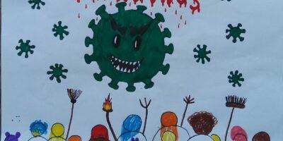 Kinderbild mit einem Virus, das eine menschenmenge bedroht
