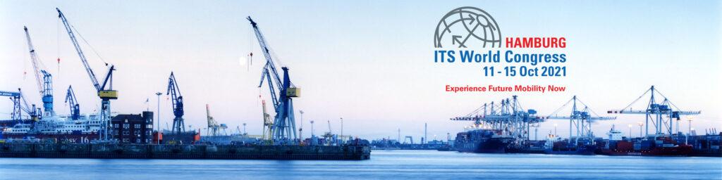 Logo des ITS-Kongresses vor der Skyline des Hamburger Hafens